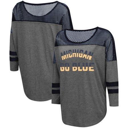 Yokes Charcoal - Michigan Wolverines Colosseum Women's Fine! Oversized Mesh Yoke 3/4-Sleeve T-Shirt - Charcoal