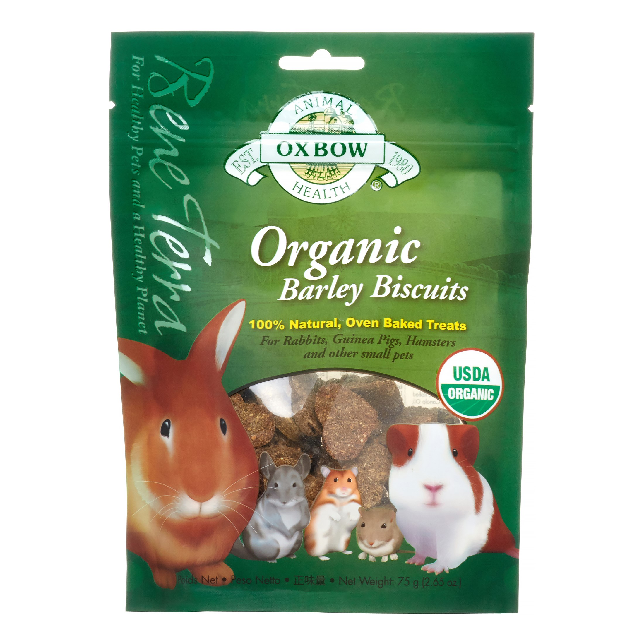 Oxbow Organic Small Animal Treats, Barley Biscuits, 2.65 Oz
