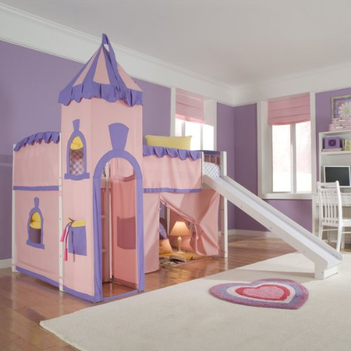Schoolhouse Twin Princess Loft Bed w/ Slide, Perfect for Your