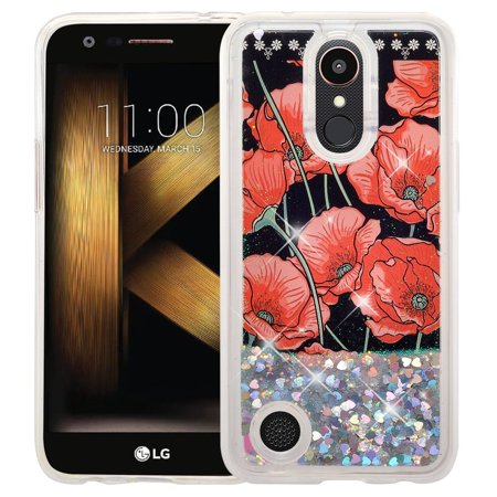 Rebel Floating - Bling Liquid Glitter Floating Quicksand Case Cover for LG Aristo 2 Plus Case, Aristo 2, LG Tribute Dynasty, Rebel 3, Zone 4 Case - Red Roses