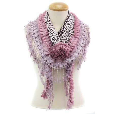 Memories MSF215-7-05 Leopard Pring Triangle Scarf with Tassel Trim, (Leopard Triangle)
