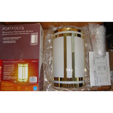 Portfolio Decorative Fluorescent Sconce (Polished Brass Finish, White Acrylic... 1lt Fluorescent Wall Sconce