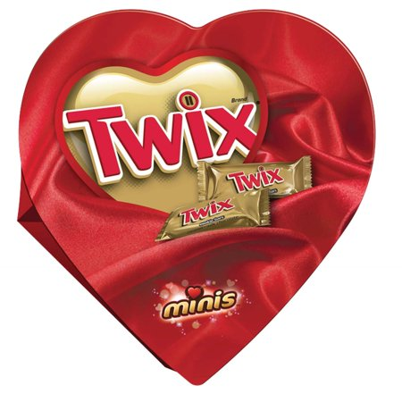 TWIX Valentine's Caramel Minis Size Chocolate Cookie Bar Candy Heart Gift Box, 7.75 oz