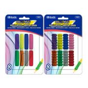 BAZIC Pencil Grip Soft Foam Pen Grip, Ergonomic Training Gripper for Righties Lefties, Comfort Grips for Adult Kids, Assorted Color (8/Pack), 2-Packs