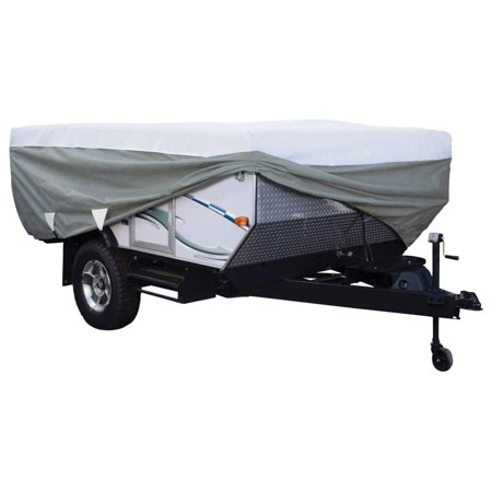 Classic Accessories OverDrive PolyPRO™ 3 Deluxe Pop-Up Camper Trailer Cover, Fits 18' - 20' Trailers - Max Weather Protection RV Cover, Grey/Snow (Best Small Pop Up Camper)