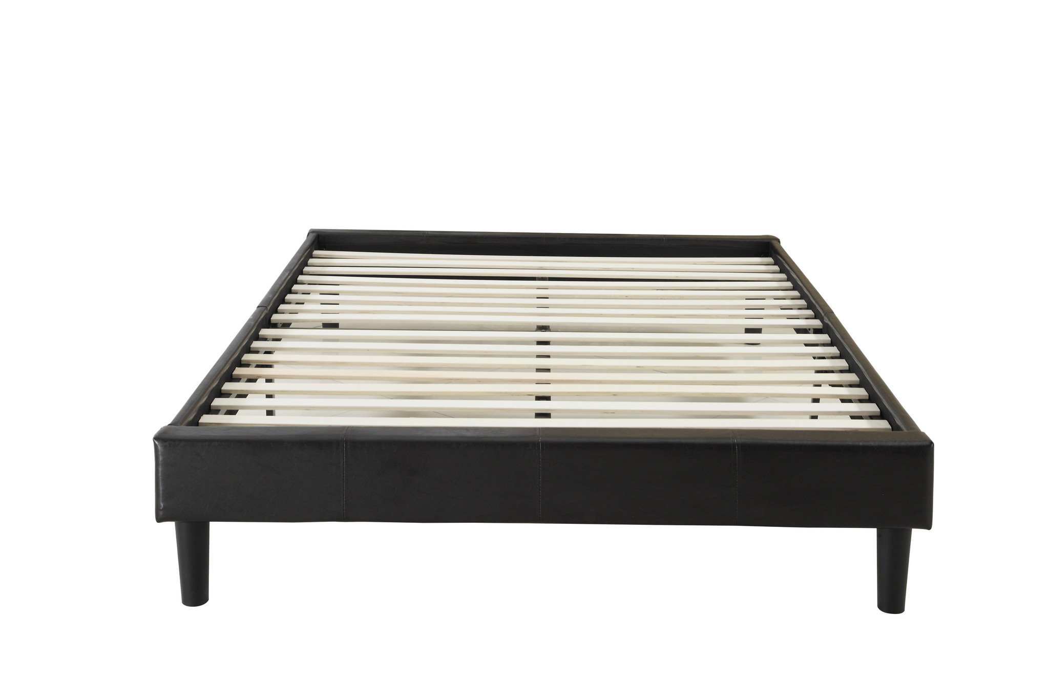 Modern Espresso Brown Bonded Leather Platform Bed with Wooden Slats by