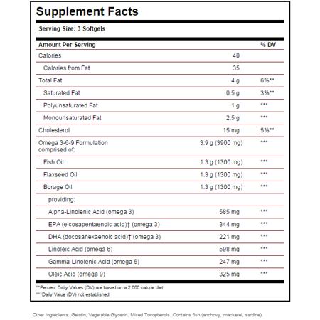 Solgar EFA 1300 mg Omega 3-6-9 Softgels 120 ct - image 1 de 2
