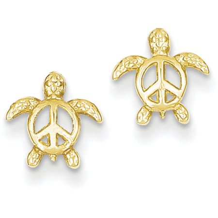 14kt Yellow Gold Peace Turtle Post Earrings