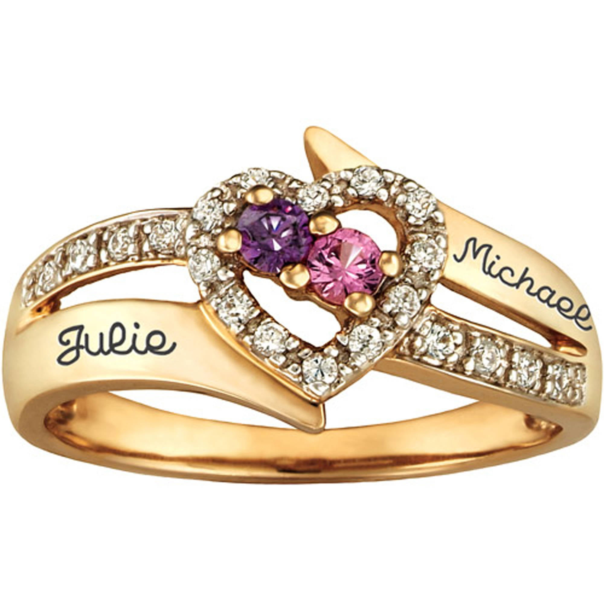Personalized Keepsake Enchantment Promise Ring with Birthstones ...