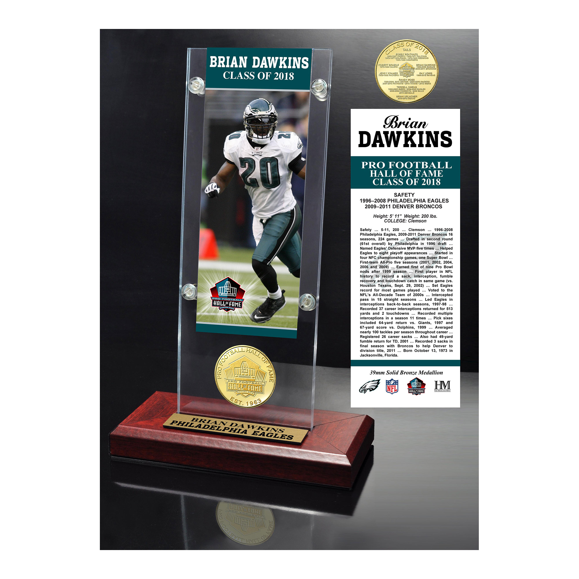 """Brian Dawkins Philadelphia Eagles Highland Mint 2018 Pro Football Hall of Fame Induction 3.5"""" x 9"""" Ticket & Bronze Coin Acrylic Desk Top - No Size"""