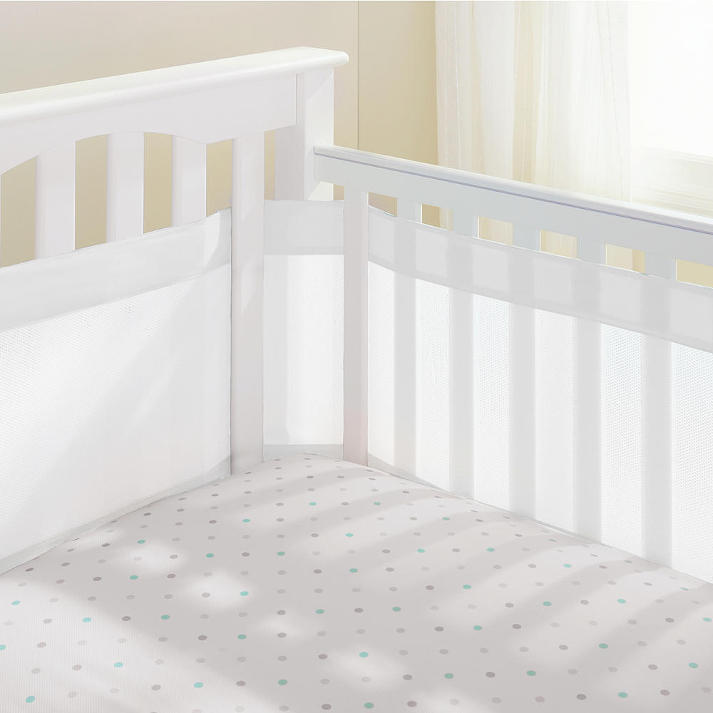 BreathableBaby Mesh-Wrap Crib Liner - 14 inch liner - White Mist
