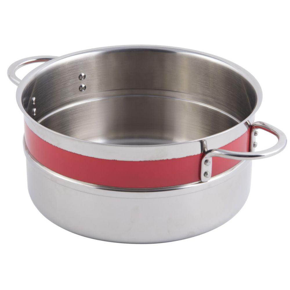 Bon Chef 62302NC RED 4.3 Qt. Single Wall Pot with Handles