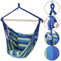 Deluxe Hammock Rope Chair Porch Yard Tree Hanging Air Swing Outdoor Green Blue