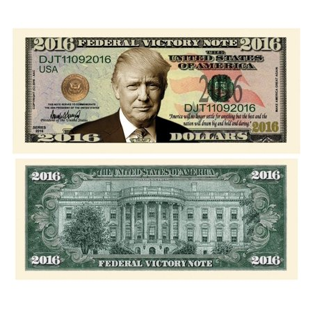 """Hms Victory Gift Set - 25 Donald Trump 2016 Federal Victory Limited Edition Presidential Dollar Bills with Bonus """"Thanks a Million"""" Gift Card Set"""