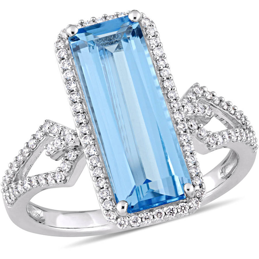 Tangelo 3-3 4 Carat T.G.W. Swiss Blue Topaz and 1 3 Carat T.W. Diamond 14kt White Gold Cocktail Ring by Tangelo