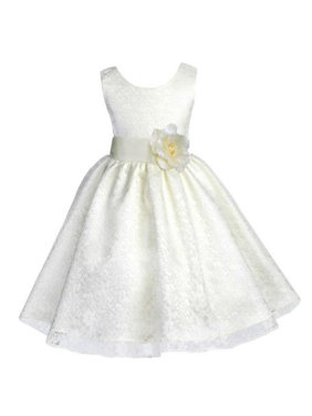 3535a32118585 Product Image Ekidsbridal Floral Lace Overlay Flower Girl Dress Christmas  Bridesmaid Wedding Pageant Toddler Recital Easter Holiday First
