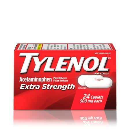 (3 pack) Tylenol Extra Strength Caplets, Fever Reducer and Pain Reliever, 500 mg, 24 ct. (Tylenol Cold Caplets)