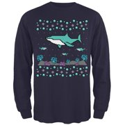 Ugly Christmas Sweater Shark Coral Reef Mens Long Sleeve T Shirt Navy 2XL