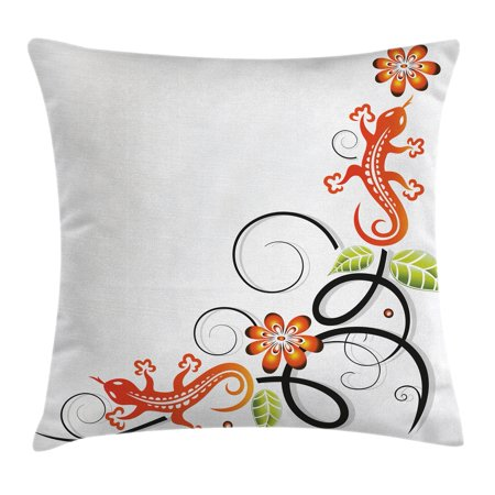 Tribal Decor Throw Pillow Cushion Cover, Small Baby Lizard Flowers and Leaves with Oriental Lines Print, Decorative Square Accent Pillow Case, 20 X 20 Inches, Orange Green Black White, by - Tribal Flowers