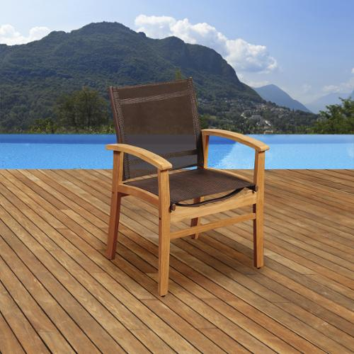 Amazonia Teak Luna Patio Dining Armchair with Brown Textile Sling by Overstock