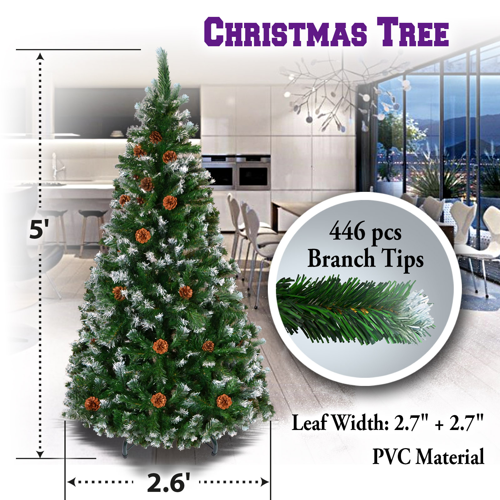 Sunrise Artificial 5\' Snow Tipped Christmas Tree with ...
