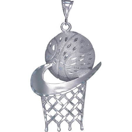 Huge Heavy Sterling Silver Basketball Hoop Charm Pendant Necklace 21 Grams 3.5 Inches with Diamond Cut Finish and 24 Inch Figaro Chain