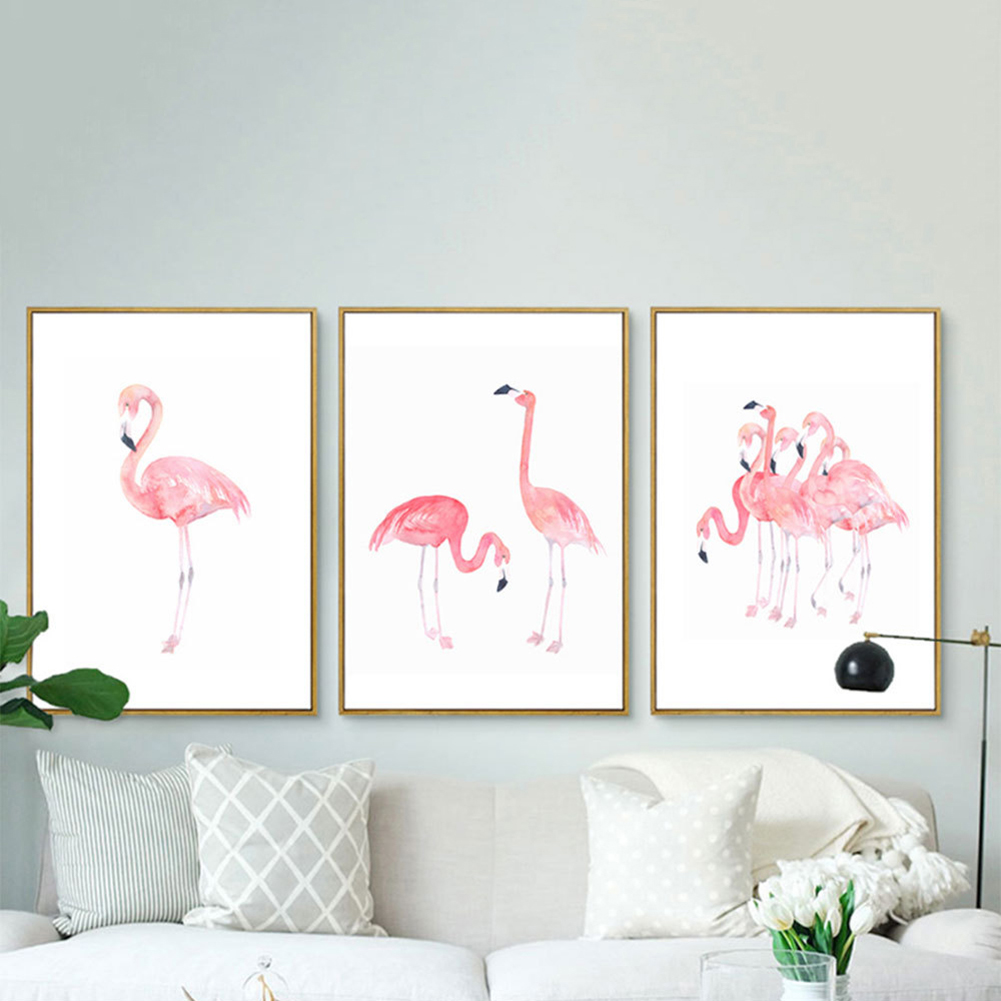 Girl12Queen Watercolor Flamingo Canvas Painting Modern Living Room Bedroom Study Art Decor