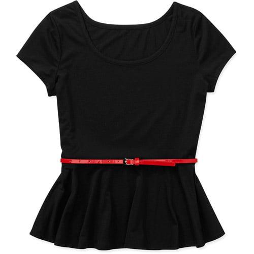 Concepts Women's Belted Knit Peplum T-Shirt