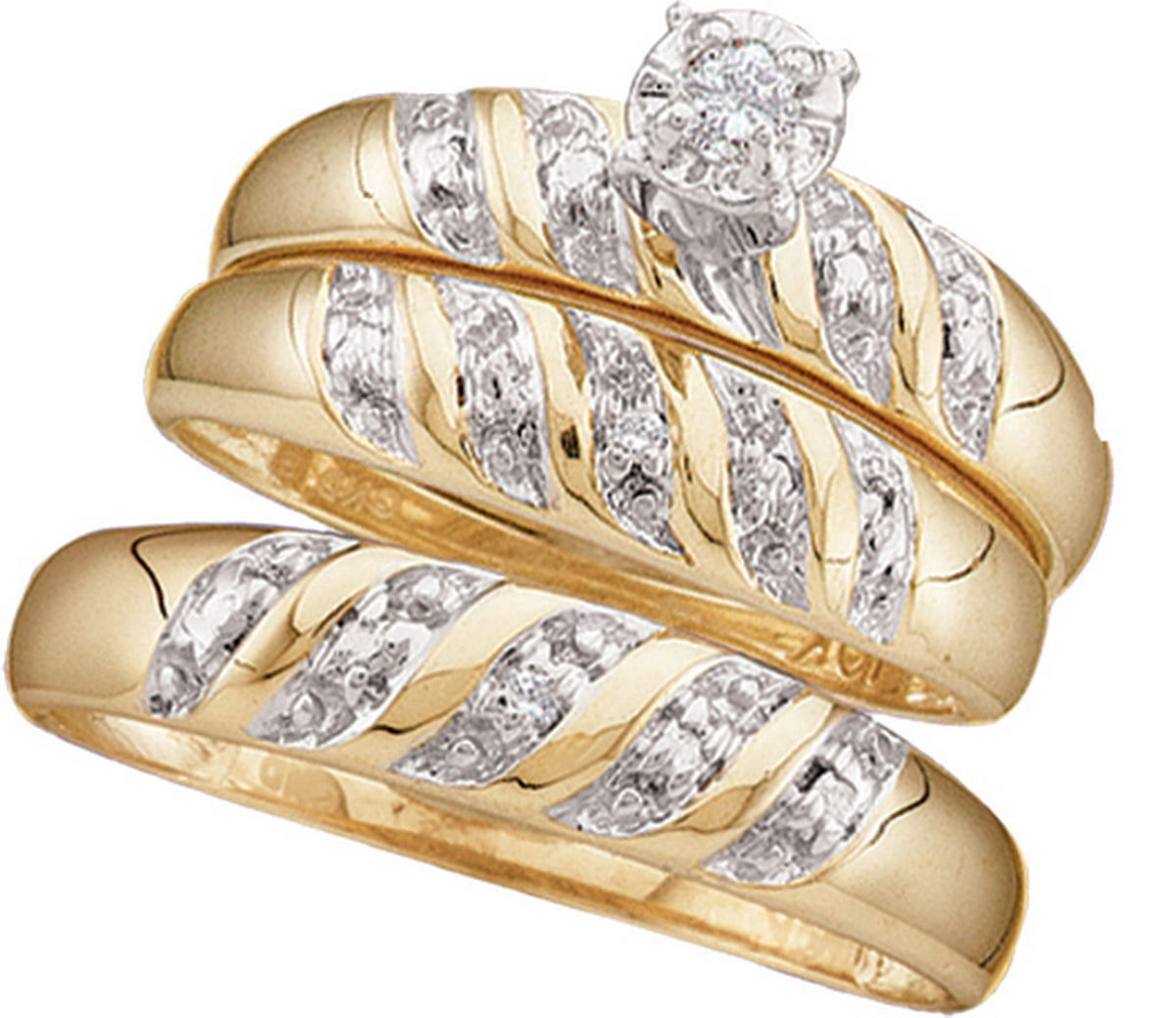 10k Yellow Gold Round Diamond Trio Matching 2-tone His Hers Men Women Wedding Ring Set (.07 cttw.) size- 8.5 by