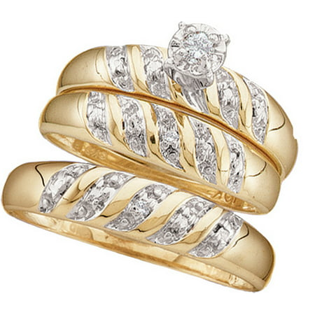 10kt Yellow Gold His & Hers Round Diamond Solitaire Matching Bridal Wedding Ring Band Set 1/12