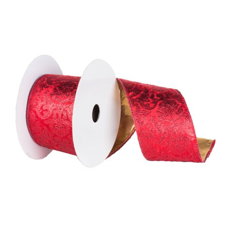"Vickerman 4"" x 10yd Red Gold Embossed Ribbon"