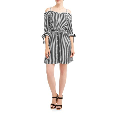 9a1b66f2ad74 MILLENIUM - Women s Stripe Off the Shoulder Shirt Dress - Walmart.com