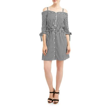 Women's Stripe Off the Shoulder Shirt Dress (The Ultimate Dress Store)