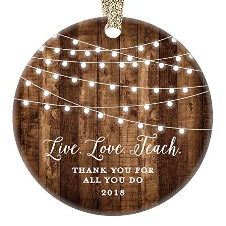 Teacher Christmas Gifts.Teacher Christmas Gifts Thank You Teacher Christmas Ornament 2018 From Student Boy Girl Elementary Rustic Xmas Farmhouse Collectible Present 3 Flat