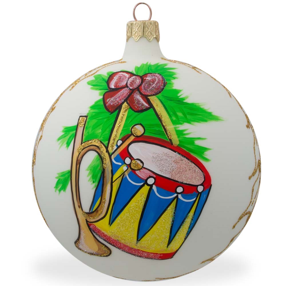"4"" Trumpet and Drum Music Instruments Glass Ball Christmas Ornament"