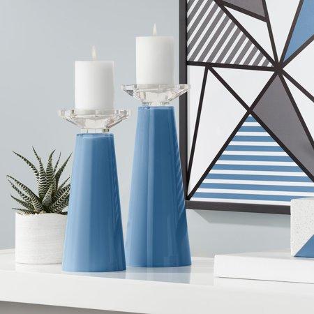 Blue Candle Holders (Color + Plus Meghan Regatta Blue Glass Pillar Candle Holder Set of)