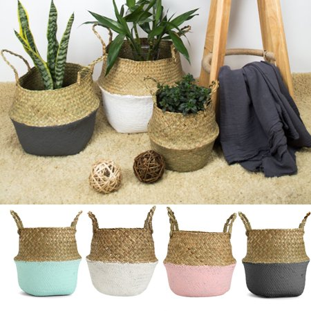 Asewin Plant Basket,Foldable Rattan Straw Basket Flower Pot Hanging Wicker Storage Basket Garden (Polypro Flower Box)