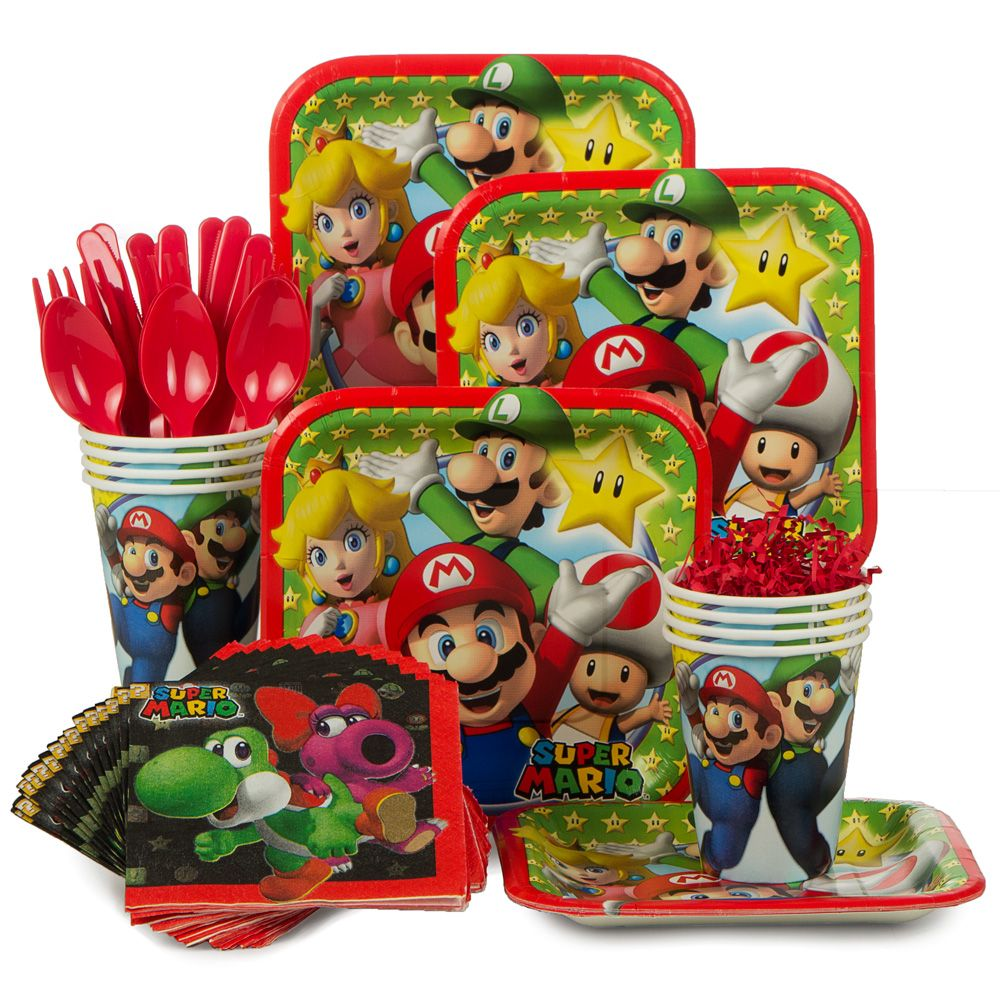 Mario Bros. Standard Birthday Party Tableware Kit - Party Supplies