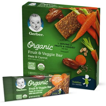 Just Fruit Bar - Gerber Organic Fruit & Veggie Bar, Date & Carrot, 0.84 oz Bars, 5 Count (Pack of 8)