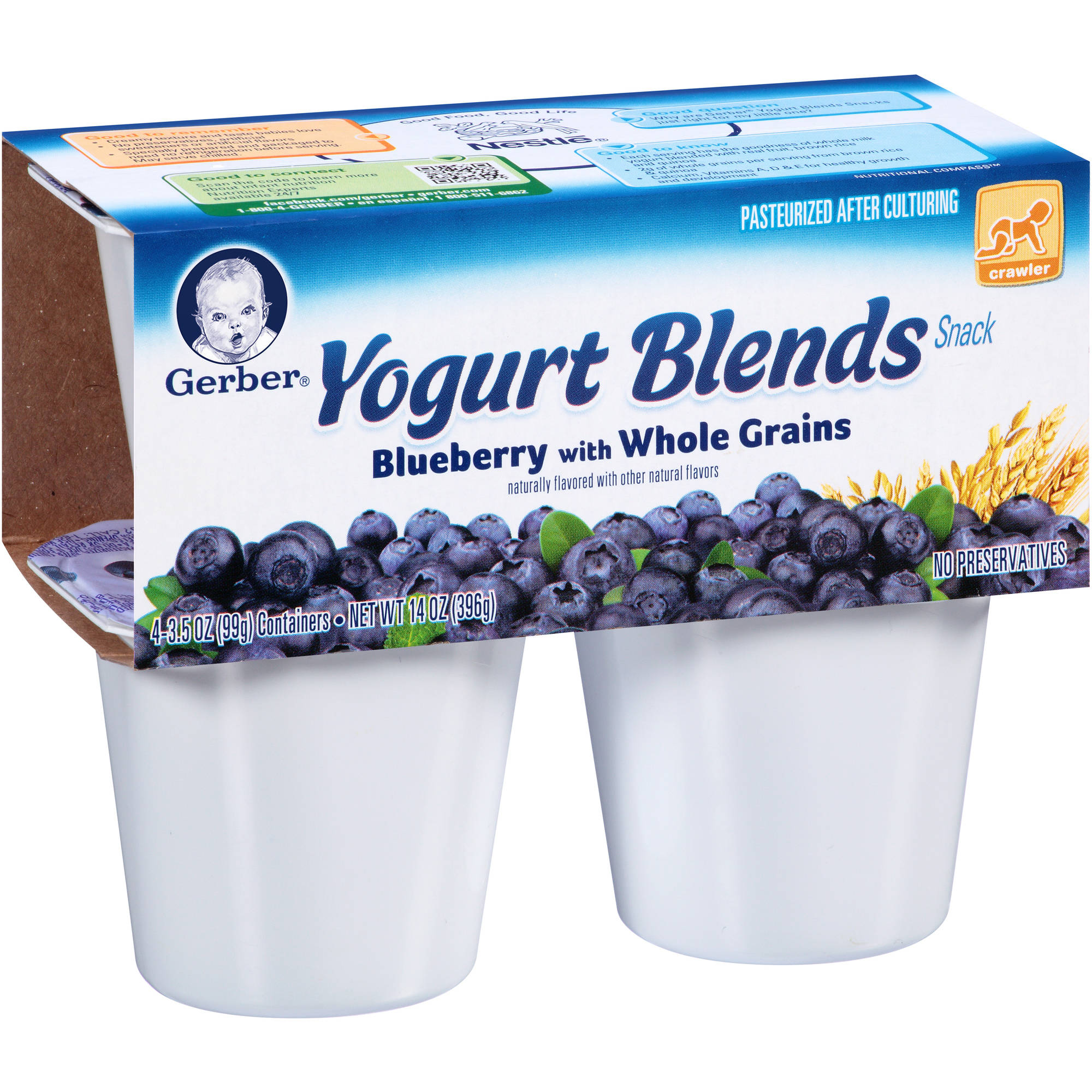 Gerber Yogurt Blends Snack Blueberry with Whole Grains, 3.5 oz, 4 count