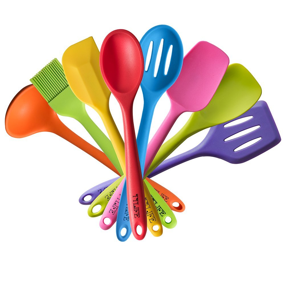 Rainbow Colored Dish Set/Silicone Spatula Utensil Kitchen Colorful 8 Pieces With Turner, Slotted spoon, Ladle, Spoon, Spoon Spatula, Spooula, Spatula, Basting brush for Cooking/Baking/BBQ