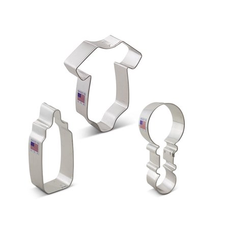 Baby Shower Cookie Cutter Set - 3 Piece - Baby One Piece Outfit,  Rattle,  Bottle - Ann Clark Cookie Cutters - US Tin Plated Steel](Baby Footprint Cutter)