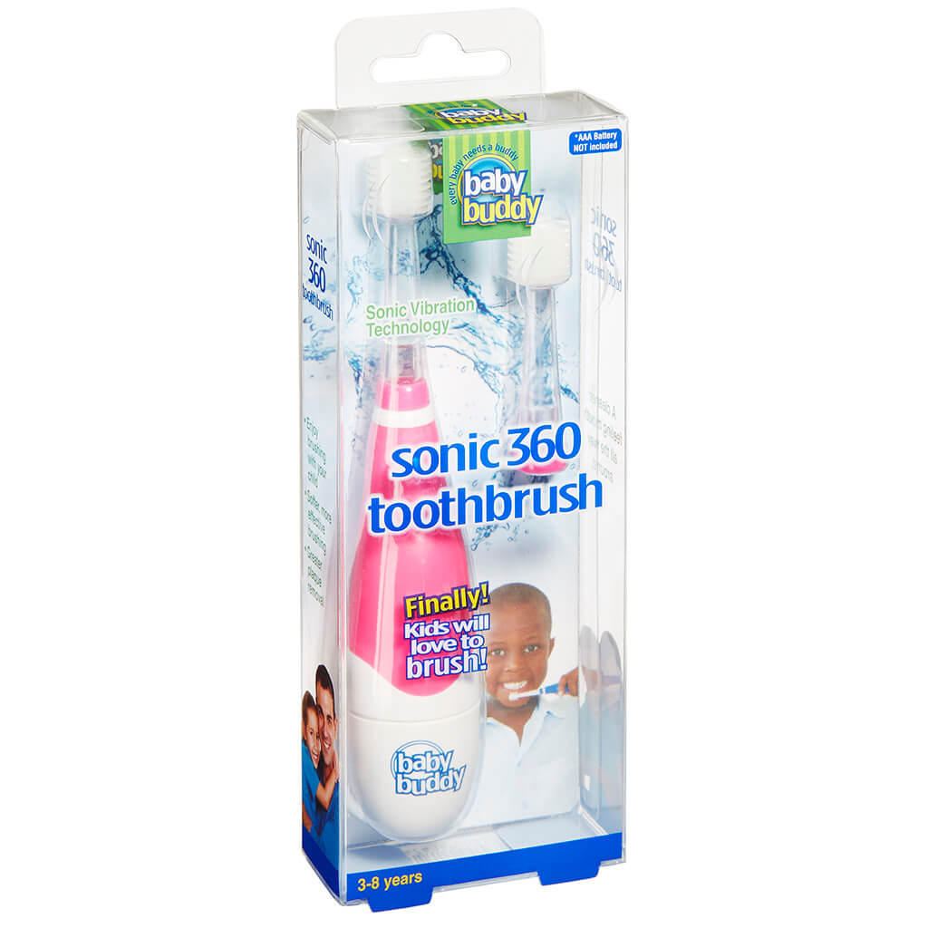 Baby Buddy Brilliant! Kids Sonic Toothbrush - PINK - Flashing Light, AAA Battery Electric Toothbrush for Children and Kids