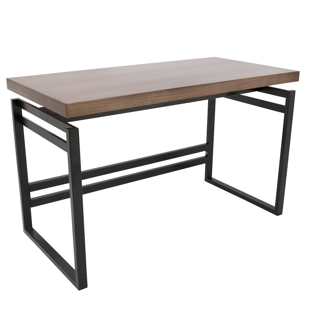 Drift Industrial Desk in Black and Walnut by Lumisource by