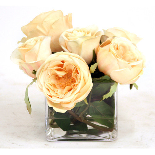 Distinctive Designs Waterlook Silk Roses in Glass Vase