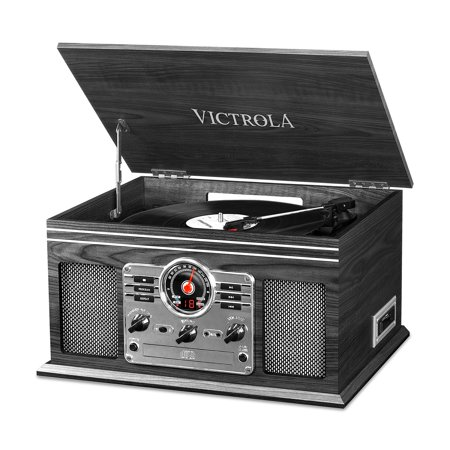 Victrola Nostalgic Classic Wood 6-in-1 Bluetooth Turntable Entertainment Center, Graphite (Certified (Victrola 6 In 1 Bluetooth Entertainment Center Mahogany)