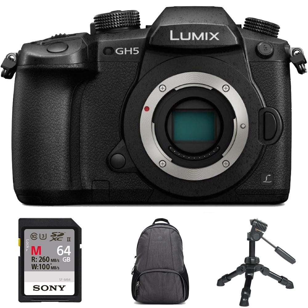 Panasonic LUMIX GH5 4K Mirrorless Digital Camera w  WiFi (Body) with Sony Memory Card 64GB UHS-II SD CL10 U3... by Panasonic