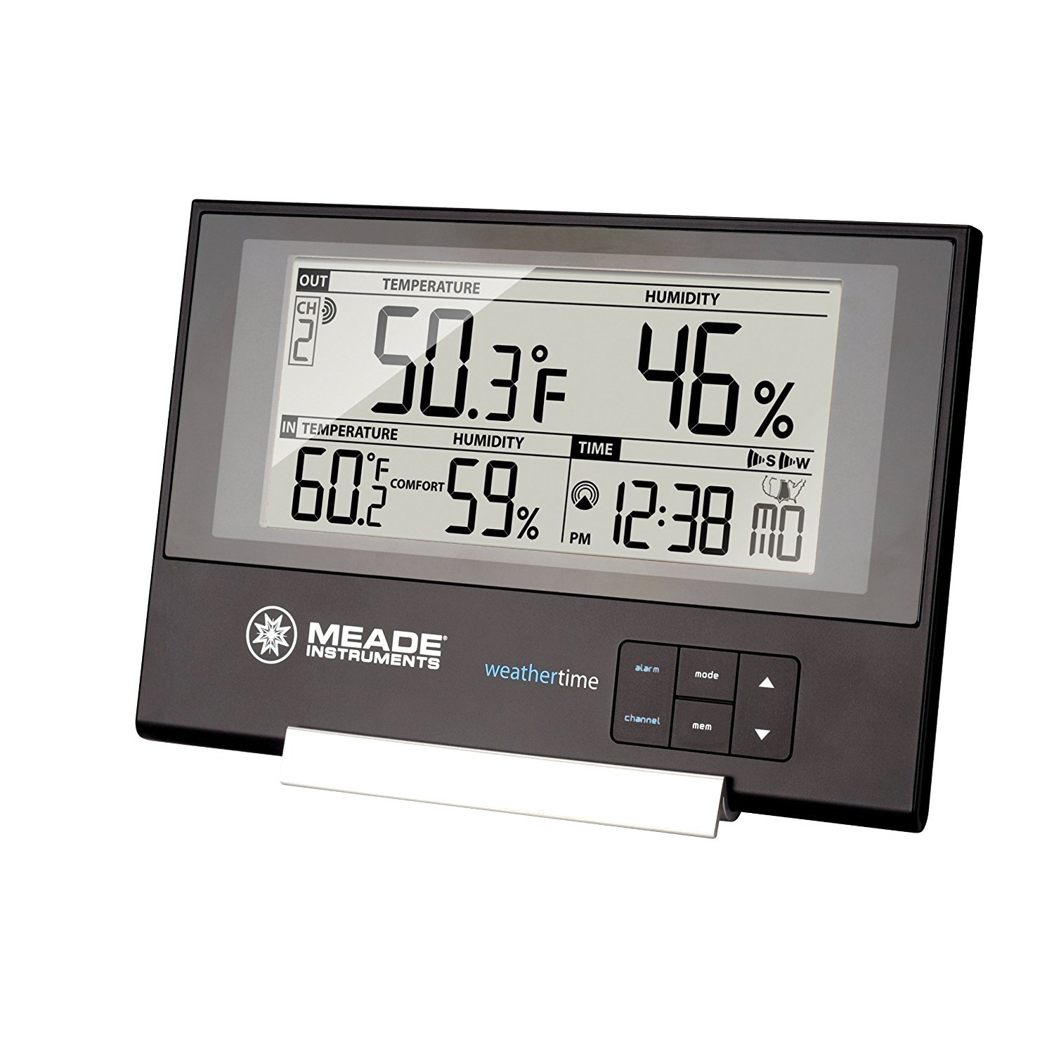 Outdoor Weather Station, Meade Te256w Slim Digital Weather Station Desk Clock by Meade