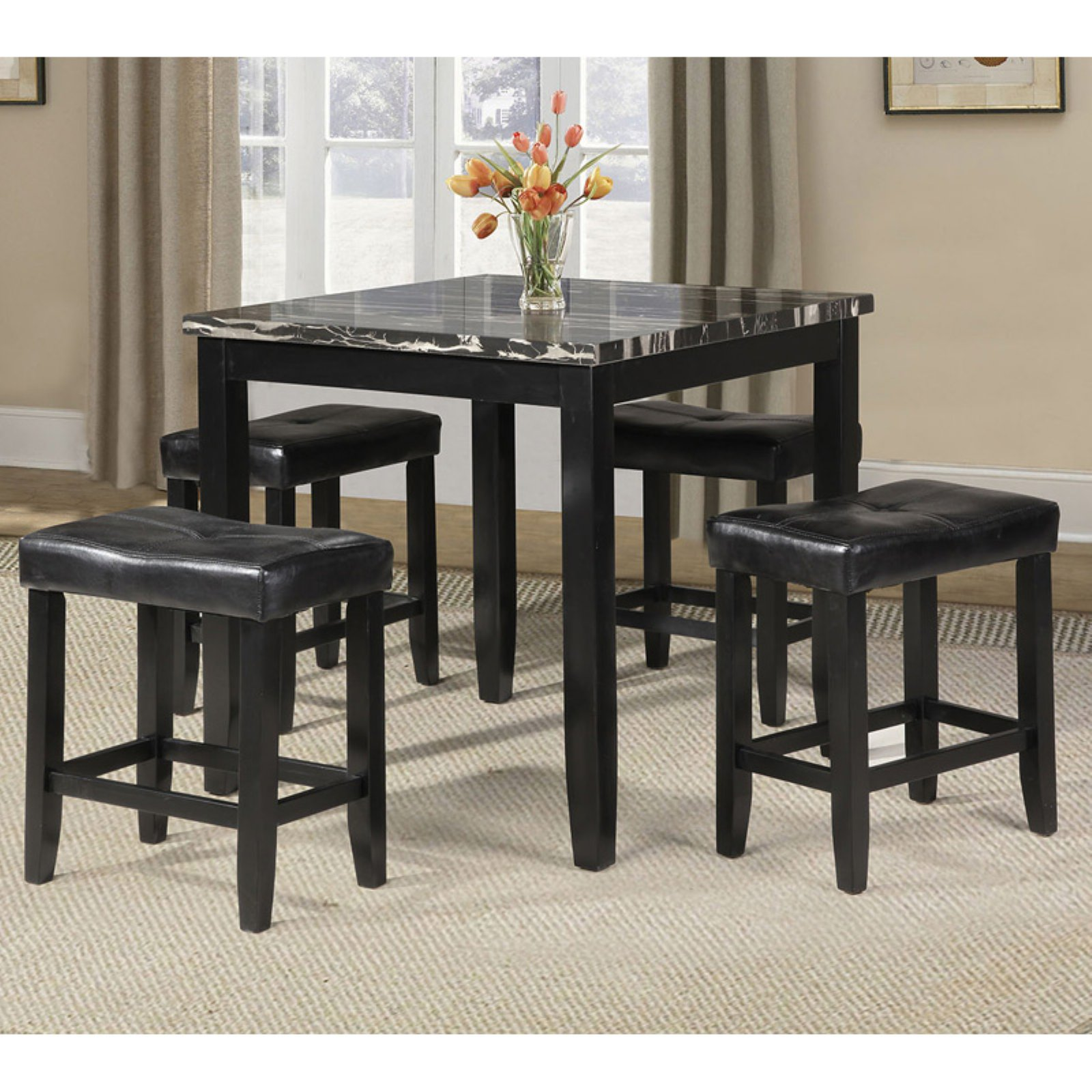 Acme Blythe 5 Piece Counter Height Dining Set, Faux Marble And Black