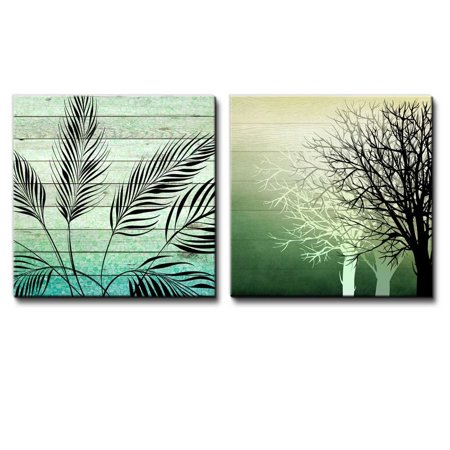 wall26 Illustration of Silhouetted of Leaves Over Green Watercolor Gradient Wooden Panels Along with Silhouette of Trees - Canvas Art Home Decor - 12x12 inches